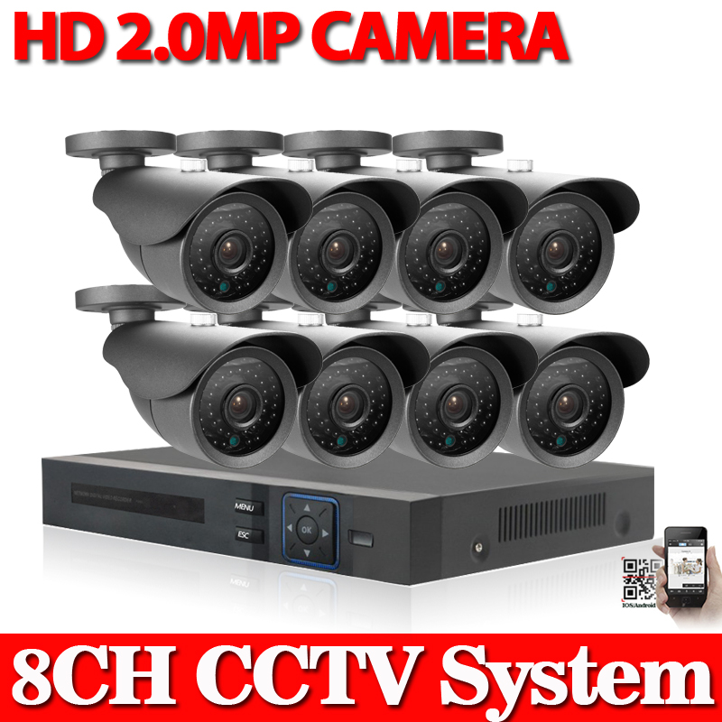 Full HD Outdoor Surveillance Security Camera System 8 Channel 1080P HDMI AHD CCTV DVR Kit 8CH AHD 1080P Camera Set + cable hdd(China (Mainland))