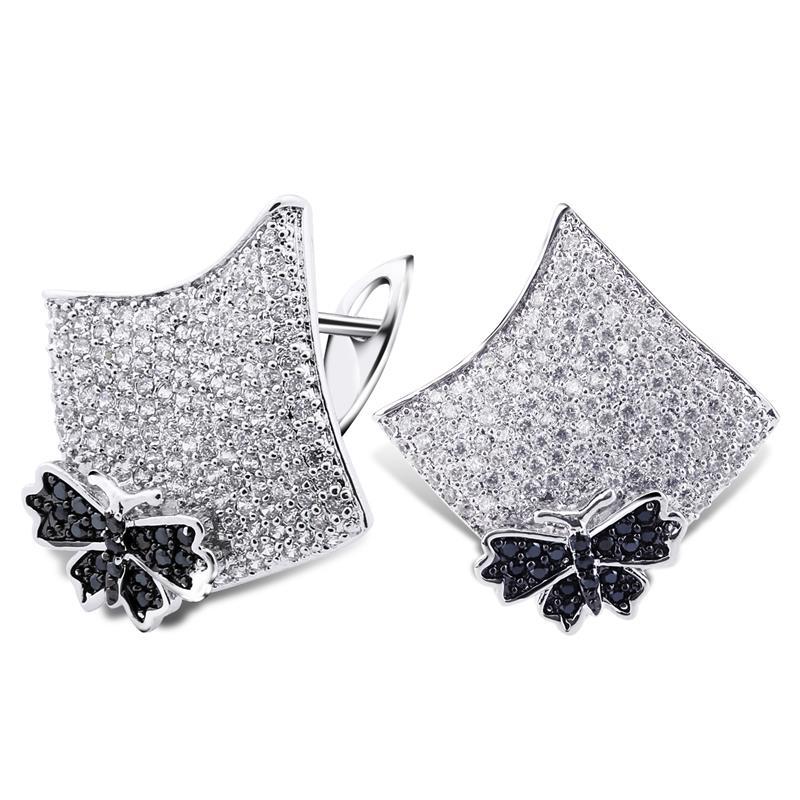 KU Eearrings Black & White Women Deluxe Butterfly Stud Earrings Cubic Zircon Prong Setting Bridal Wedding Jewelry - Kuromi's Luxury store