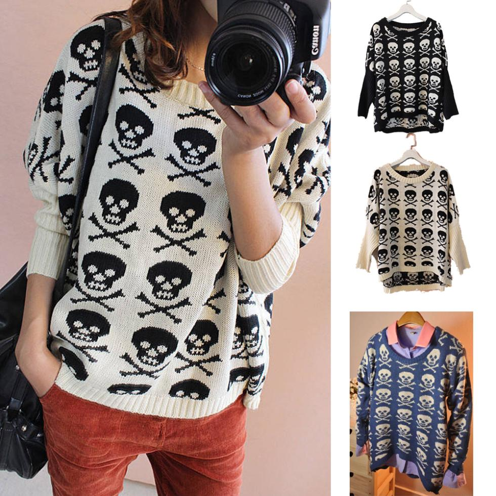 HOT!2014Autumn Women Long Sleeve Skull Skeleton Pattern Punk Pullover Knitted Loose Sweater Top(China (Mainland))