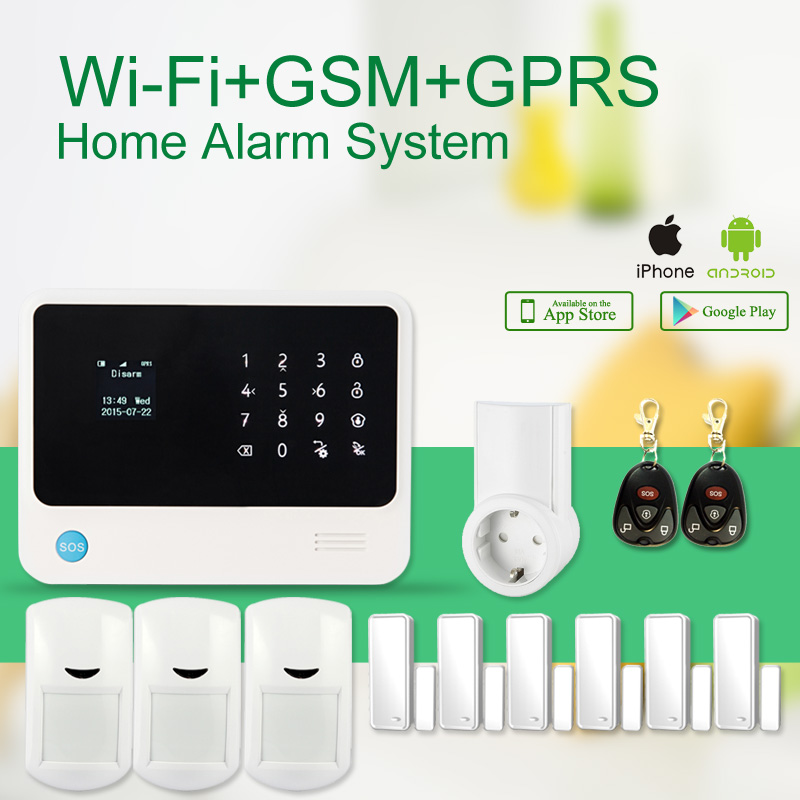 433MHZ GSM+ Wi-Fi+GPRS GS-G90B Wireless GSM Home Security Alarm System LED Touch Screen IOS Android APP+power socket<br><br>Aliexpress