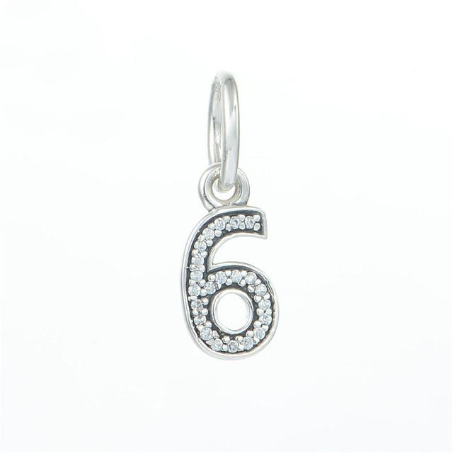 Подходит пандоры прелести браслет 100% 925 серебряные украшения бусины номер 5 с камнями очарование DIY мода ювелирных изделий оптовая продажа
