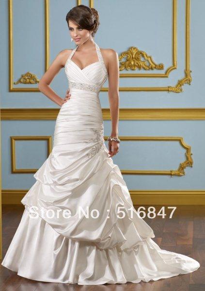 2014 new fashion white / ivory dragon neck beaded satin wedding dress lace wedding dress custom size Delivery(China (Mainland))