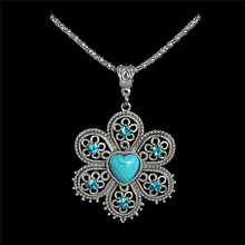 Wholesale Antique Silver Pendant Necklace Crystal Turquoise Flower Necklace Sweater Chain TL188 FREE SHIPPING(China (Mainland))