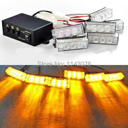 12v 3 flashing modes amber car truck boat 18 led strobe. Black Bedroom Furniture Sets. Home Design Ideas