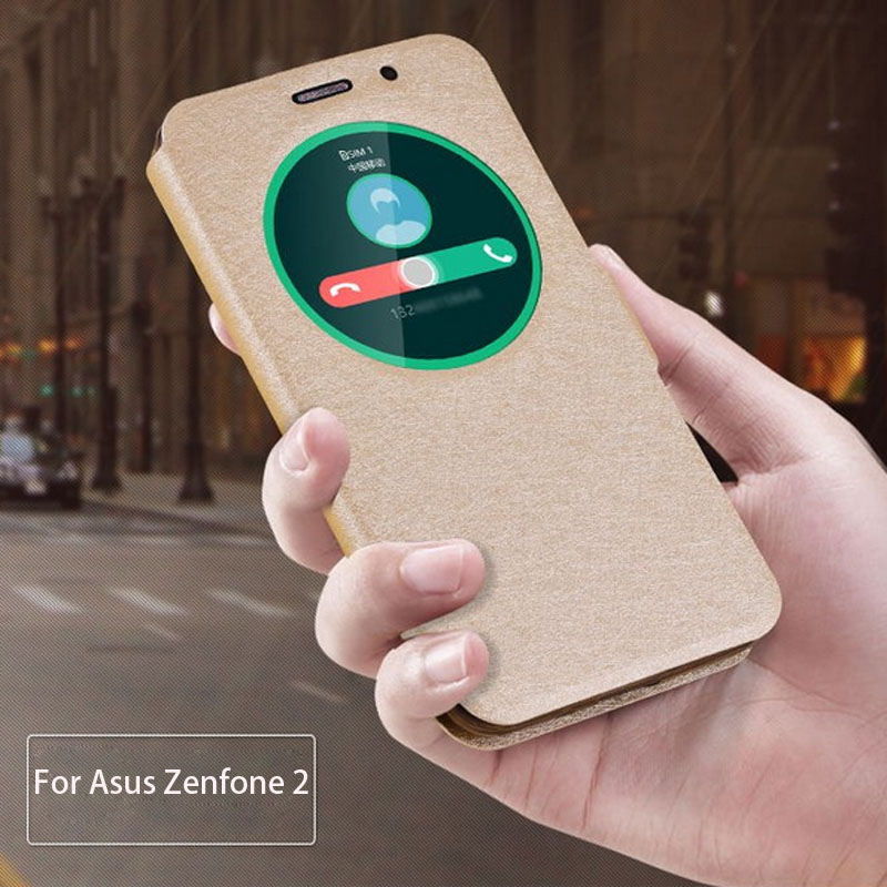 Circle View Window Smart Sleep Awake Leather Flip Holster Case Cover For Asus Zenfone 2 ZE550ML Zenfone 2 ZE551ML(China (Mainland))