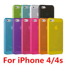 MQC:1pcs Case Cover Protector for Apple iphone 4 4s 4G 0.3mm Ultra Thin Slim Matte camera hollow not show fingerprint retail(China (Mainland))