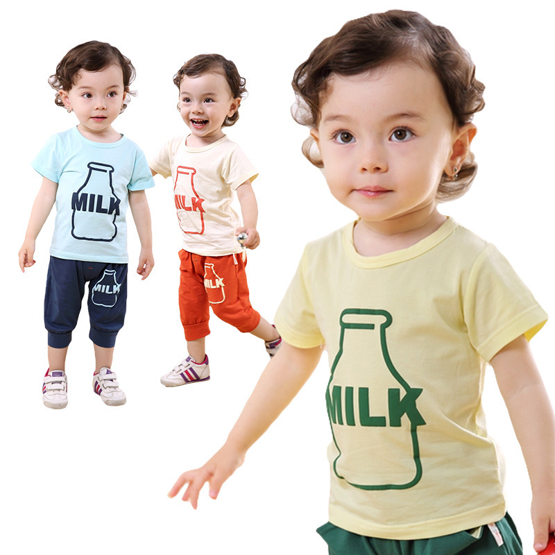 2015 High quality global best price baby clothing  new cute boys suits printed T-shirt Summer baby clothes suit  free shipping <br><br>Aliexpress