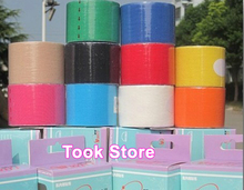 Retail box + Free DHL 200rolls/lot wholesale Kinesio taping kinesiology Tape 5CM*5M Therapy tape good quality sports muscle tape(China (Mainland))