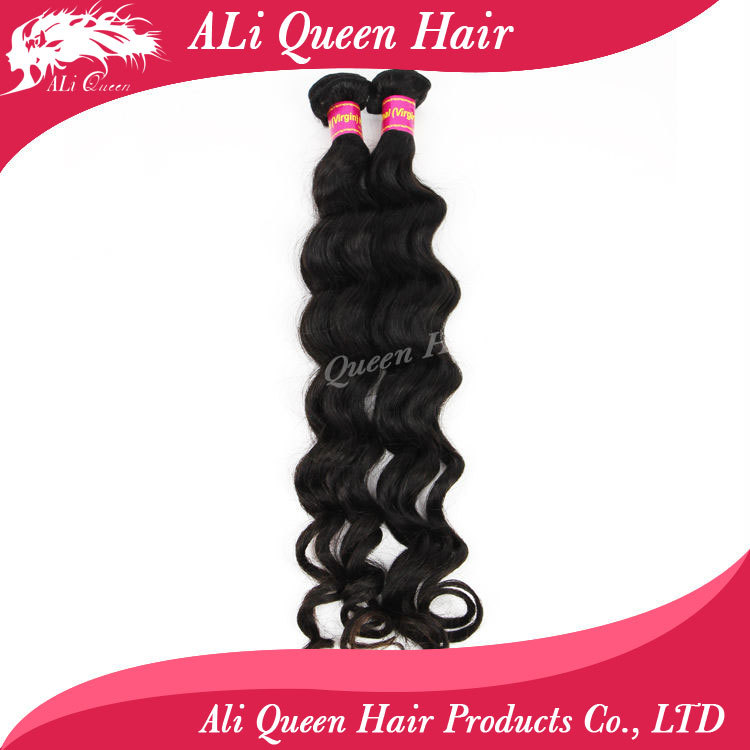Ali queen hair products hair 100 human hair weave 8-34 unprocessed brazilian more wave natural hair extension(China (Mainland))