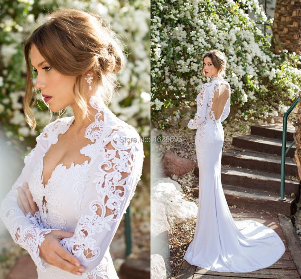 Wedding Dress 2014 Julie Vino Mermaid Dresses Sweep Train Backless Chiffon vestido de noiva Long Sleeves Pearl - Customize & Event store