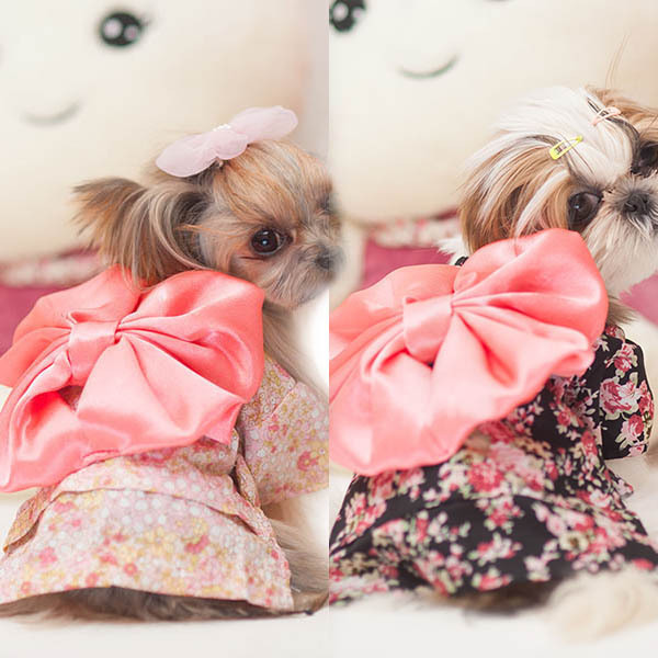 Hot selling NewPet Dog Clothes Puppy Floral Japanese Kimono Clothing Costume Princess Dress(China (Mainland))