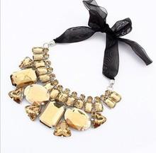 2015 Fashion sautoir Candy color ribbon irregular stone chain Hot Sales Fashion Vintage Flowers Studded Rhinestone Necklace(China (Mainland))