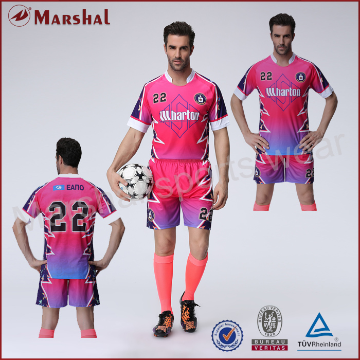 Pink color soccer jersey,team soccer uniform wholesale,custom your club soccer kits(China (Mainland))