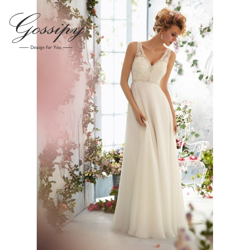 Sexy backless wedding dress 2015 chiffion a line vestidos for Cheap beach wedding dress