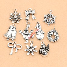 Buy Christmas Charm Antique Silver Plated Zinc Alloy Snowflake Charms Pendants fit Bracelet Jewelry Making Accessories 10pcs for $1.23 in AliExpress store