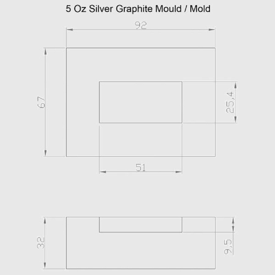 Graphite Ingot Mold 5oz Silver Refining High Density