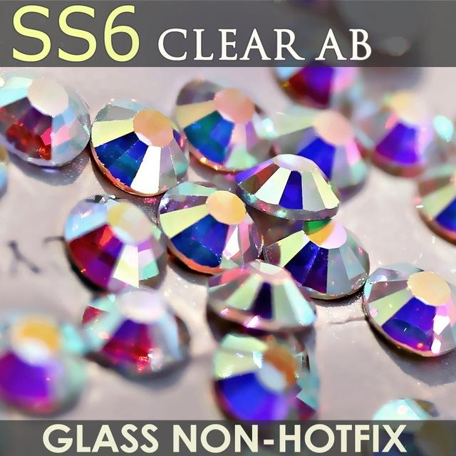 SS6 1.9-2.0mm Clear AB Nail Rhinestones for Nails Art Glitter Crystal Decorations DIY Fashion Non HotFix Rhinestone Decor strass