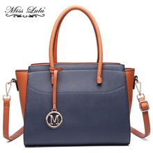 Buy Miss Lulu (Buy 1, Get 1 50% Off) Women Faux Leather Winged Handbag Large Cross Body Shoulder Satchel Tote Bag Navy LT6627 for $36.99 in AliExpress store