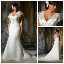 Not far from the country Free ShippingV-neckline Ivory Organza Short Train Plus Size Wedding Dresses With Sleeves 2016(China (Mainland))