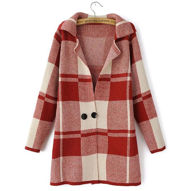 Women Cardigans Long Sleeve Sweater Autumn Winter Coat Ladies Jumper Mujer Knitted Plaid Sweaters Overcoat Tops 16847wr()