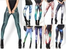 Top Sale summer new 2014 Women Mermaid Leggings fashion Space printed leggings(China (Mainland))