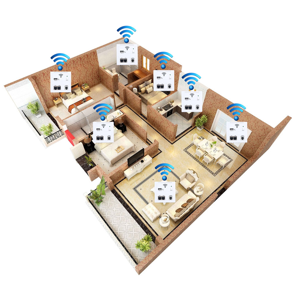 NEW 6 in 1 AP router 3G 5V 2A 150 Mbps wireless WIFI computer Wall Embedded USB charge socket panel cell phone LAN/Phone(China (Mainland))