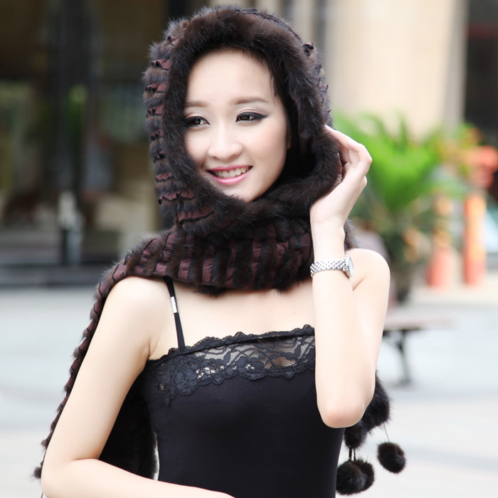 Mink scarf hat one piece lace marten hat thermal women's snow cap fur winter(China (Mainland))
