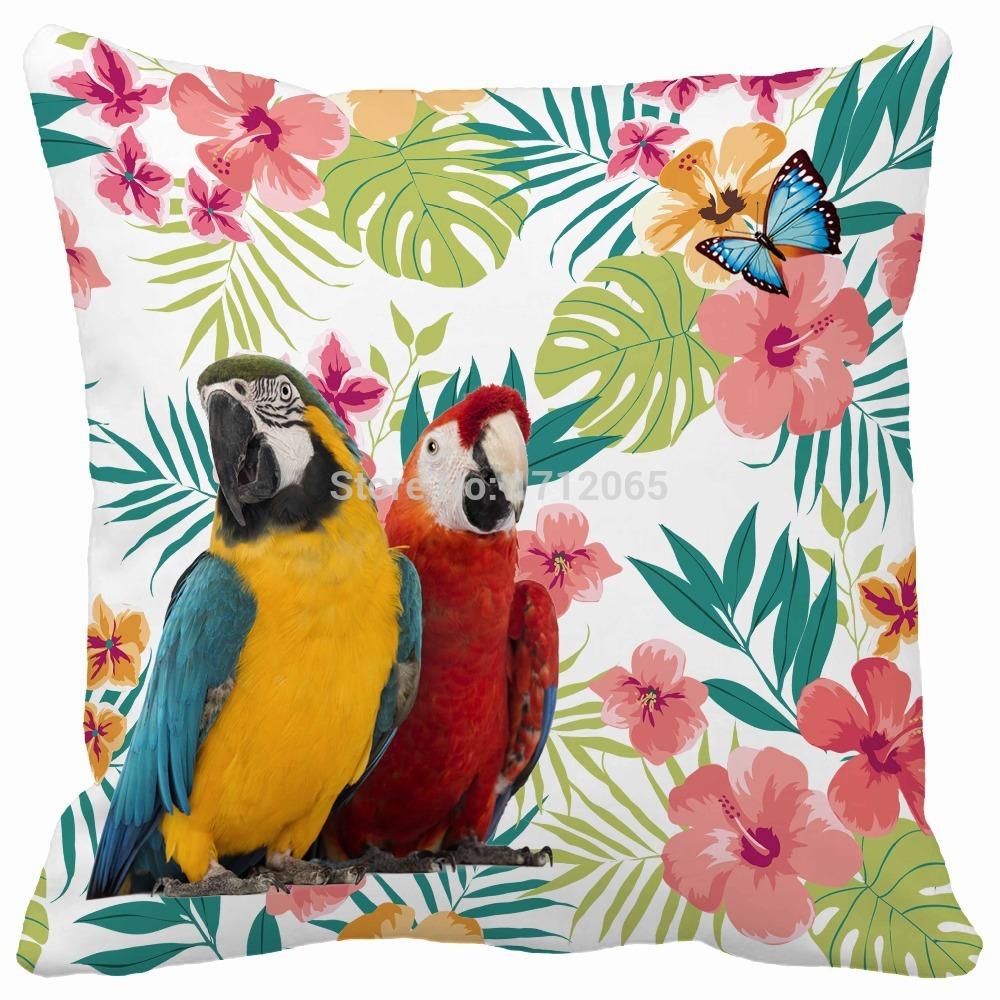 Bird Pattern Throw Pillow : Tropical Watercolor Flower Macaw bird Pattern Print Custom Home Decorative Throw Pillow decorate ...
