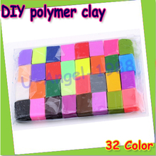Free shipping +Gift Idea 1Set of 32 Colors 32pcs Soft Effect Polymer Colored Clay Plasticine DIY Modelling Craft Art Toys(China (Mainland))