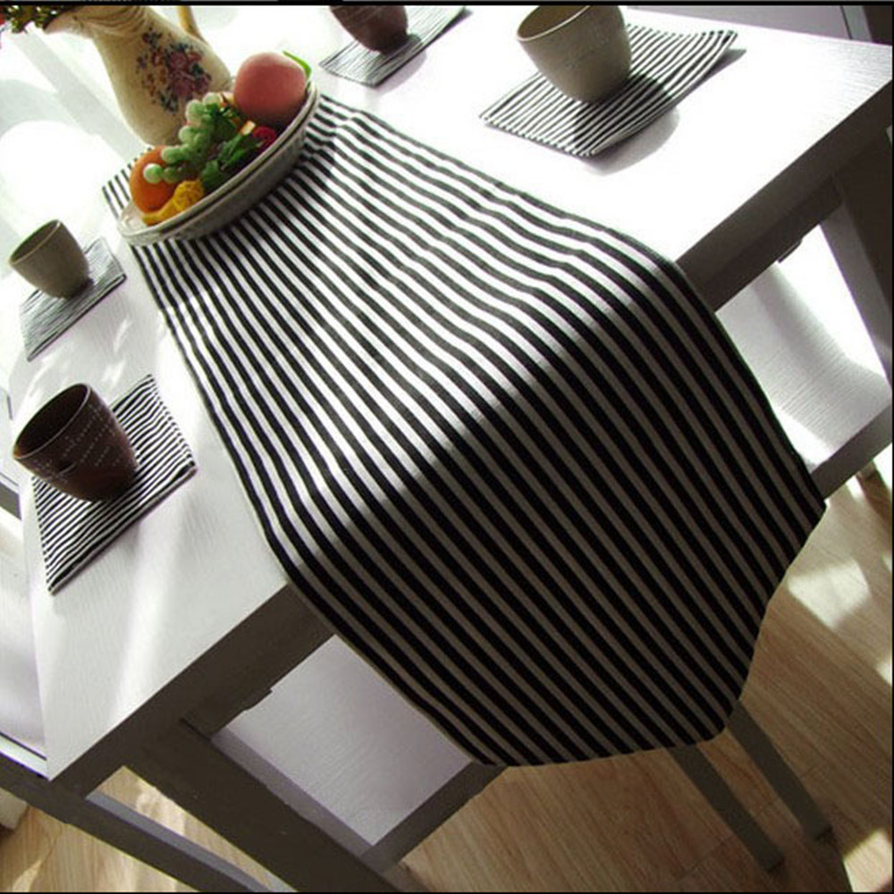 New Minimalist Style black and white stripe table runner tablecloth quality canvas table flag for party bed runner WXT827(China (Mainland))