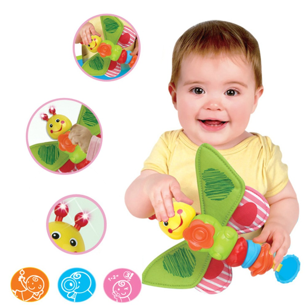 Free Shipping Baby Kid Soft Developmental Music Hang Toy Lovely Plush Rattle Hang Baby Kids Dolls Crinkle Toy Musical Instrument(China (Mainland))