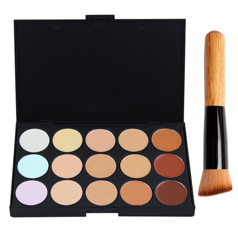 15 Colors Concealer Palette Camouflage Contour Face Cream Makeup Concealer Palette+Multi-Function Blush Powder Brush Set PD002(China (Mainland))