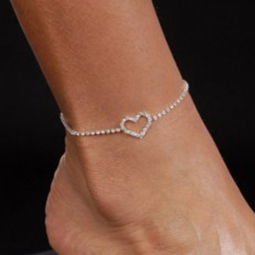 Excellent Sexy Lady Heart Rhinestone Anklet Foot Wedding Jewelry Simple Design Ankle Bracelet 4ZCV(China (Mainland))