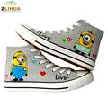 JUP 10 Styles Anime Despicable Me Minion Spongebob Shoes Hand Painted Canvas Shoes Children Graffiti Shoes