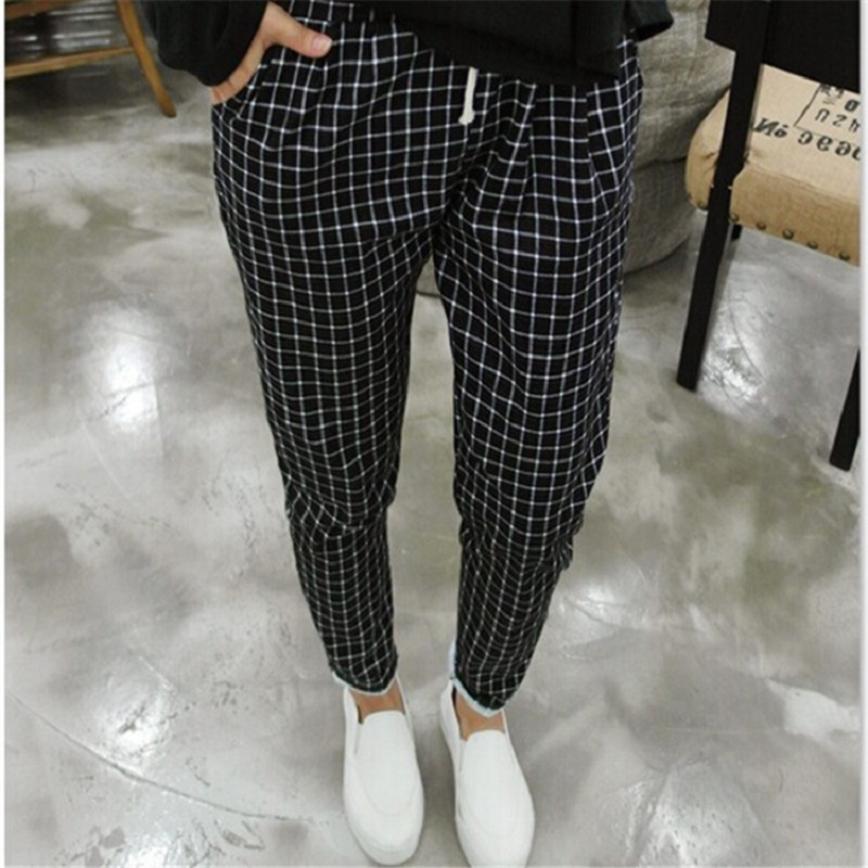 JJ 2016 New Spring Casual Loose Cotton Harem Pants Plus Size font b Plaid b font