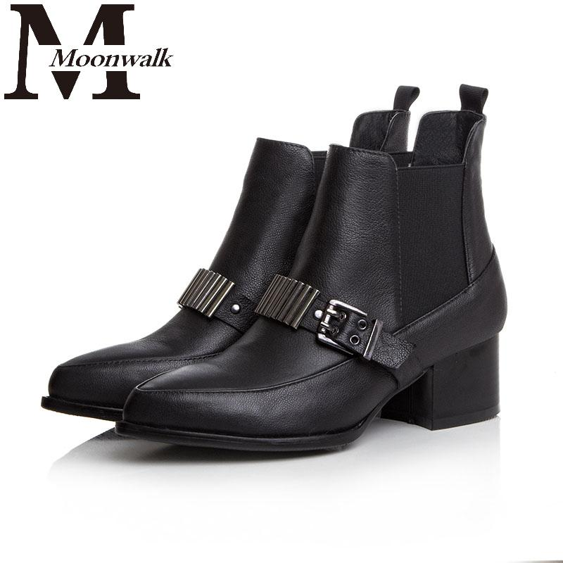 MOON WALK Black Ankle Boots Geniune leather Short Pointed Toe Chain Buckle Womens Brand Shoes Botas Femininas 2015 Autumn ZY632<br><br>Aliexpress