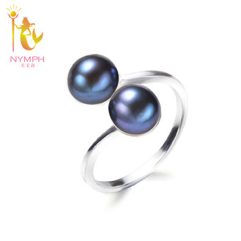 Double natural pearl ring ,fine pearl jewelry Classical white pearl wedding bands stone women rings R028