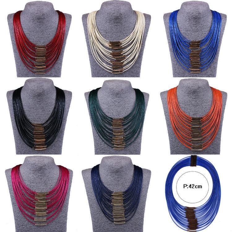 Горячая мода женщины-многоцветный ключицы цепи многослойные кожаный кисточкой цепи ожерелье