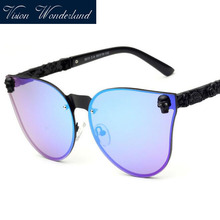 Metal MEN Women Cat eye Sunglasses brand vintage retro steampunk Polarized sunglasses women SKULL sun glass Oculos de sol