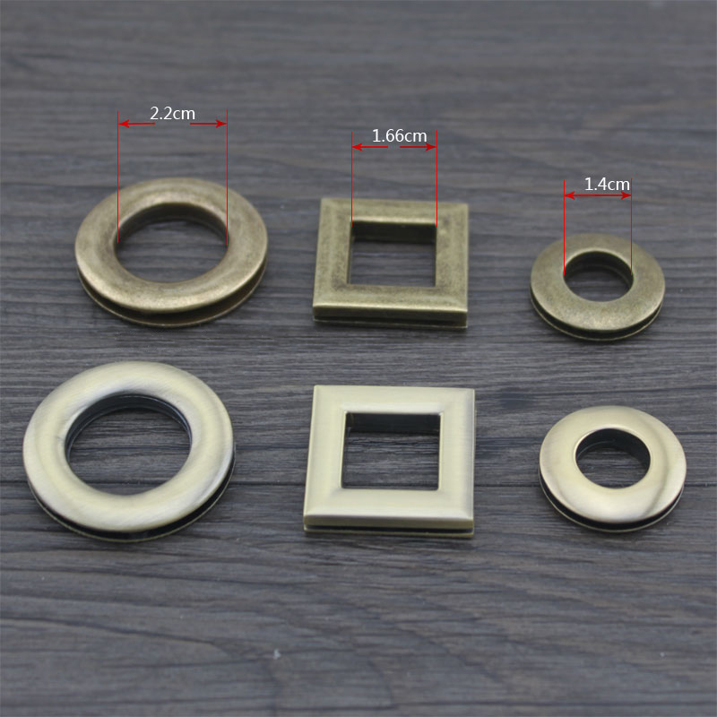 (10 Sets/ Lot) 14mm, 22mm (Inside) DIY Brass Bronze Eyelet Rings Button 16mm (Inside) Square Eyelets Metal Bag Accessories(China (Mainland))