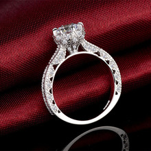 Полые цветок кольца для женщин ювелирные изделия стерлингового серебра 6 мм Кубического Циркония обручальные кольца женский мода bague femme bague(China (Mainland))