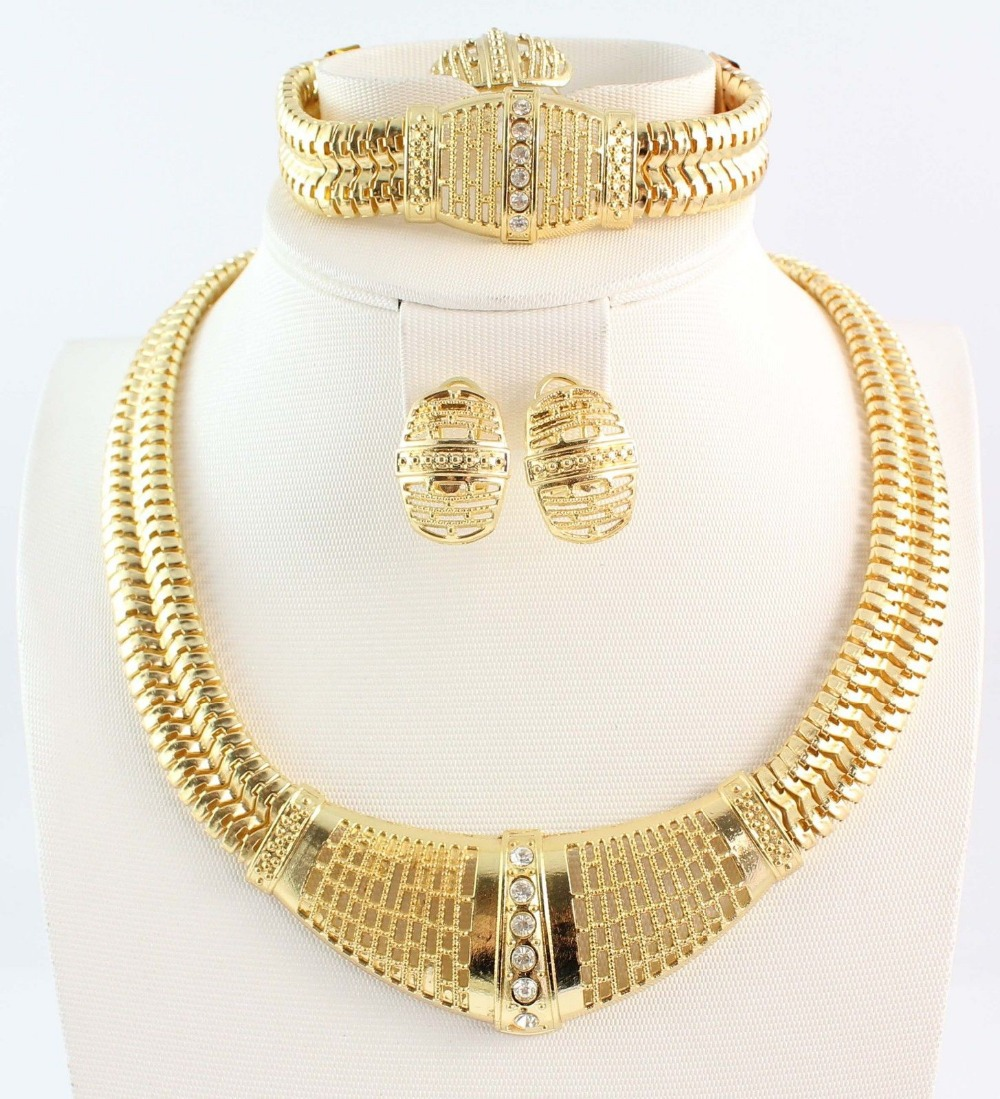 2014 Bridal Necklace Jewelry Set African Gold Plated Charming Costume Sets,For Women - WWS (Min Order $10 store)