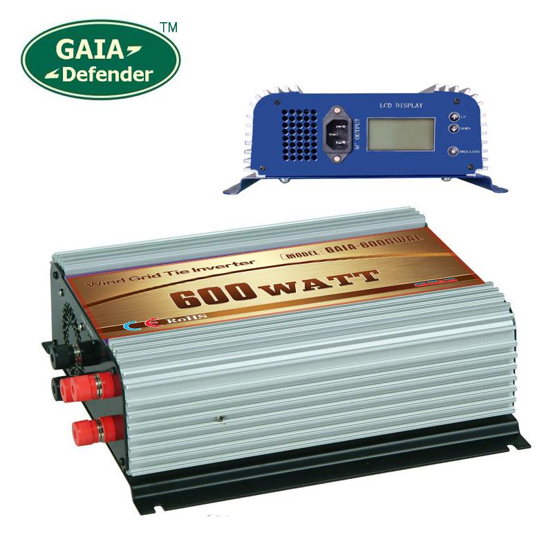 600W Wind Grid Tie Inverter with LCD/Dump Load Controller for 22V-60V wind turbine AC 220V 230V 240V 3 phase generator(China (Mainland))
