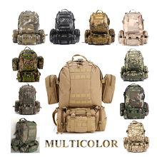 Solid Nylon wearproof Outdoor Sport Climbing Camping Hiking combined Trekking Molle travel Bags Military Tactical Backpack 60L