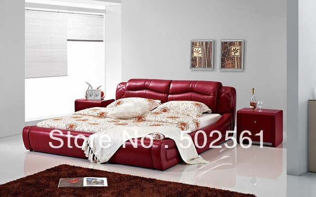 2014 new modern genuine leather bed include salt red bedroom furniture