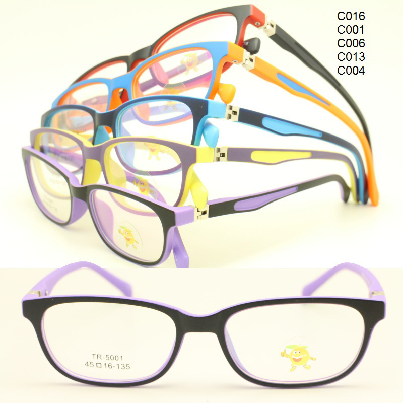 wholesale 5001 dual color full-rim with 180 degree flexible spring hinge square kid TR90 optical glasses frame free shipping(China (Mainland))