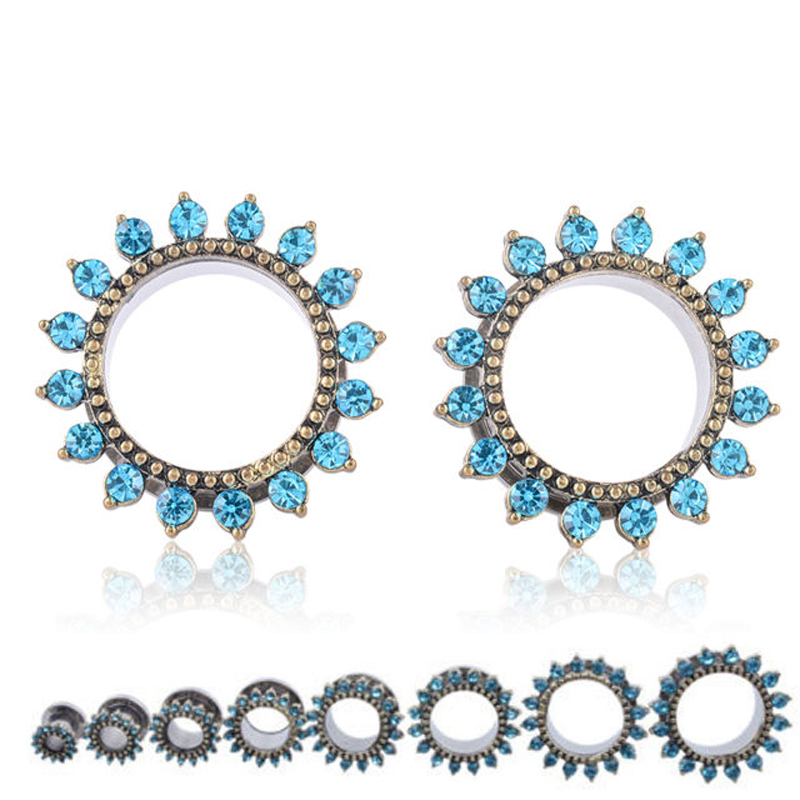 1Pair Screw Sunflower Full Crystal Inset Flesh Tunnels Plugs and Gauges Body Piercing Ear Reamer Expander Size6-20mm(China (Mainland))