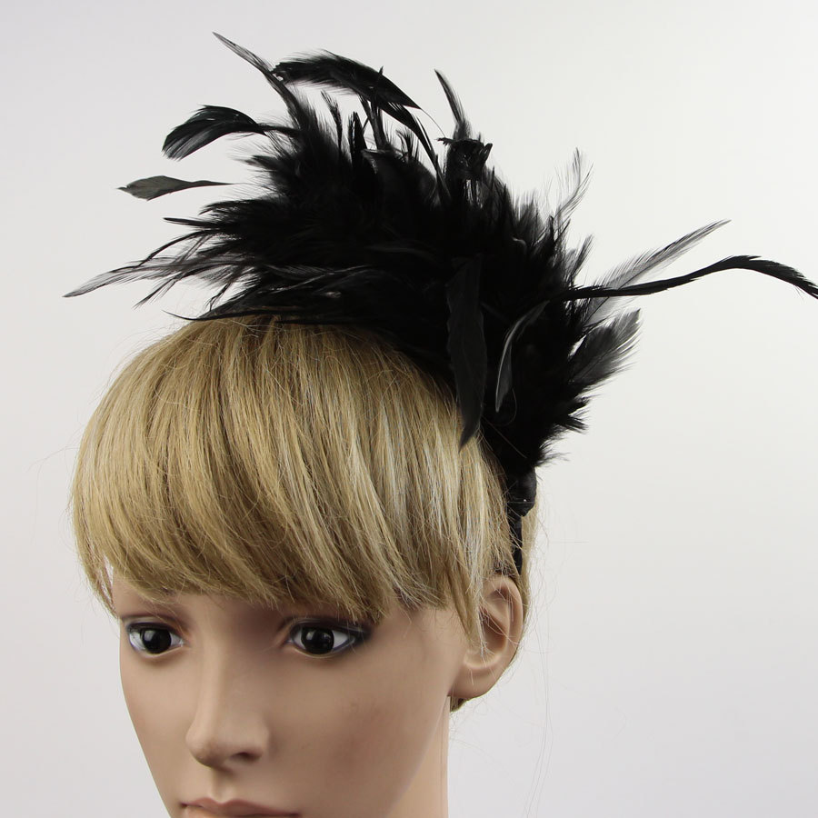 Feather Fascinator Headband For Lady Wedding Bridal Party Prom For 6 Colors 1 Pc(China (Mainland))