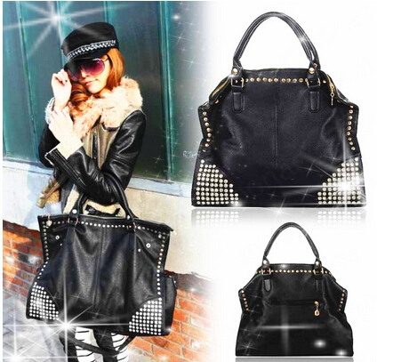Women PU Leather Handbags Fashion Shining Rivet Fake Diamond Punk Shoulder Bags Large tote Bolsas Femininas free shipping(China (Mainland))