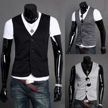2015 New Arrival Men Suit Vest Slim Casual Cotton Vests Men's Fitted Leisure Waistcoat Casual Business Jacket Tops Three Buttons(Hong Kong)